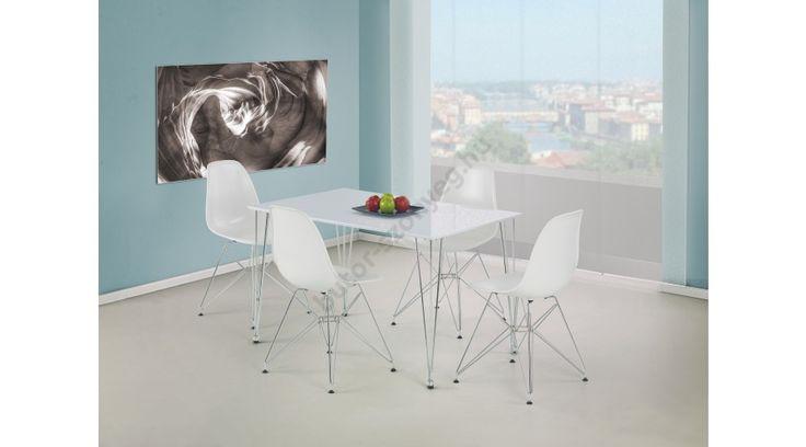 TWISTER - egy fiatalos és modern étkezőasztal, lakkozott MDF-ből, krómozott acél vázzal. Az étkezőasztal mérete: 120/76/73 cm. Ez a modell az itt látható kivitelben és színben rendelhető. Lapra szerelten, kartondobozba csomagolva érkezik,