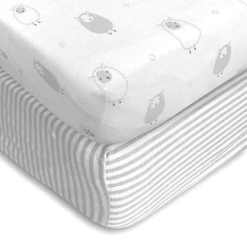 Cuddly Cubs Premium Jersey Crib Sheets, Extra Soft for a Sound Sleep and Gentle on Baby Skin! Fitted with Elastic All Around, NO Struggle to Get on the Mattress. Sheep & Stripes Pattern in Light Gray  Extra Soft, Breathable, Lightweight and Hypoallergenic for babies sensitive skin.  Universal Fit for Standard Crib Mattress - Size: 28 x 52 x 9  100% Premium Quality Jersey Knit Cotton  Gender Neutral, Unisex and Perfect for Infants and Toddlers  Product of Non-harmful Textile Production