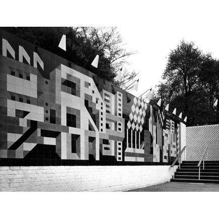 Entrance court to the British Industry Pavilion, 1958 World's Fair, Brussels: close-up of the tile mural by Peggy Angus   RIBA