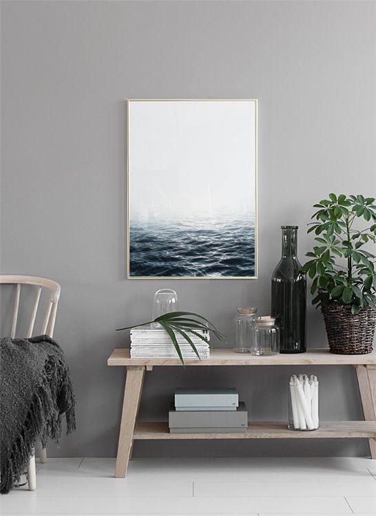Affisch med fotografi på havet...