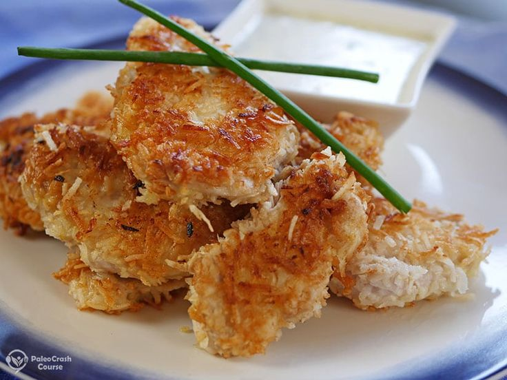 This paleo coconut chicken recipe is perfect if you want delicious crunchy strips of chicken. These are perfect just on their own or in a salad.