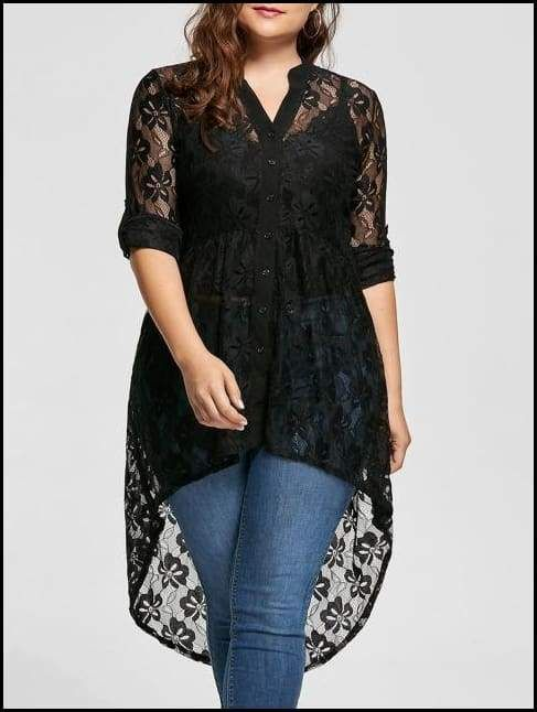 fa549ae4b76 Long Sleeve High Low Lace Shirt