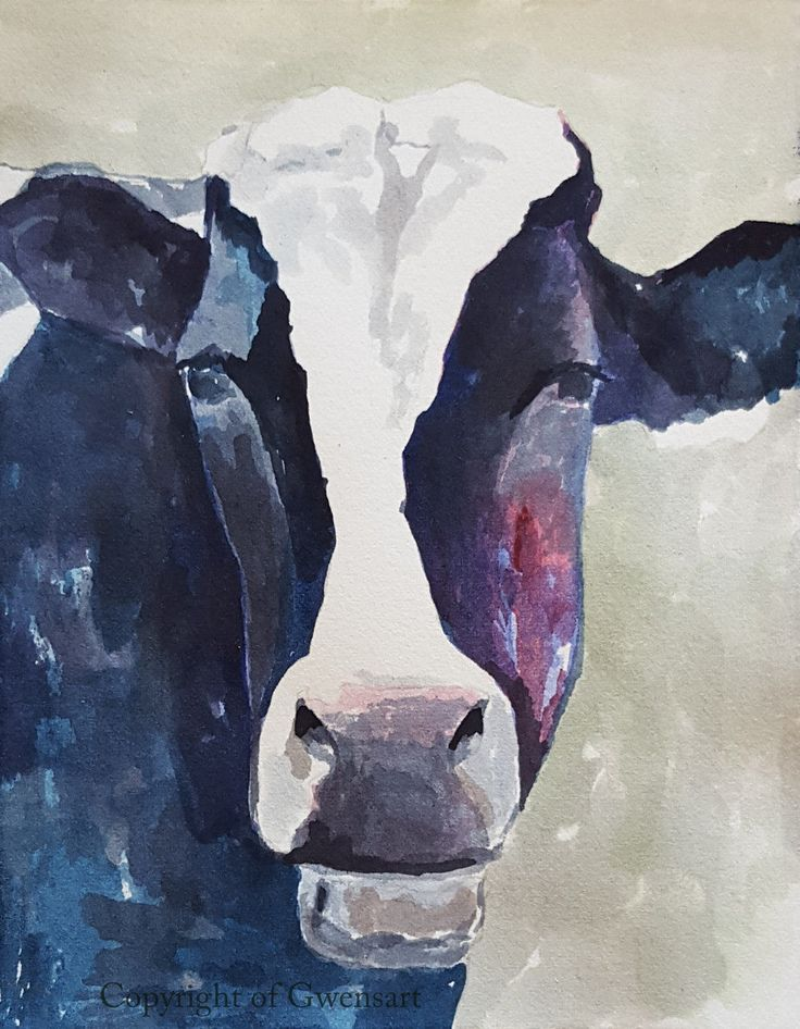 Black Cow Wall Decor : Black and white holstein cow original watercolor painting