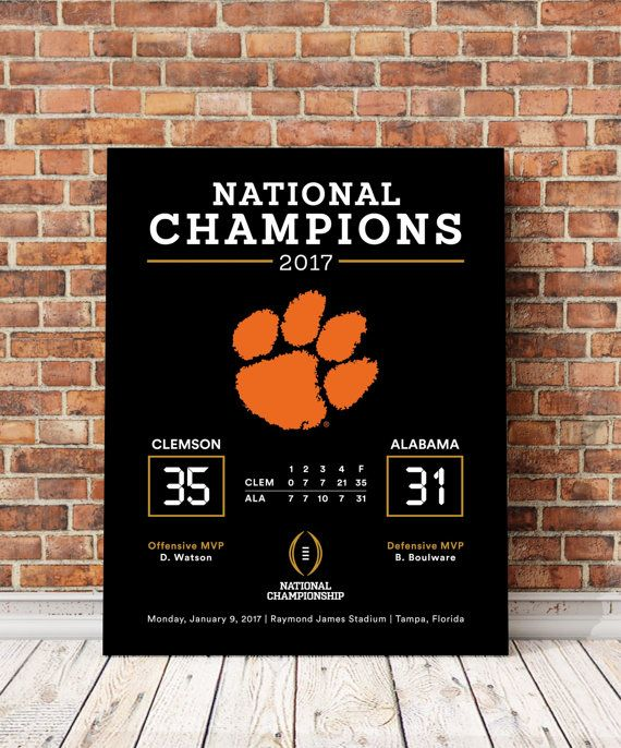 Clemson Tigers - National Championship Canvas Print Memorabilia Art
