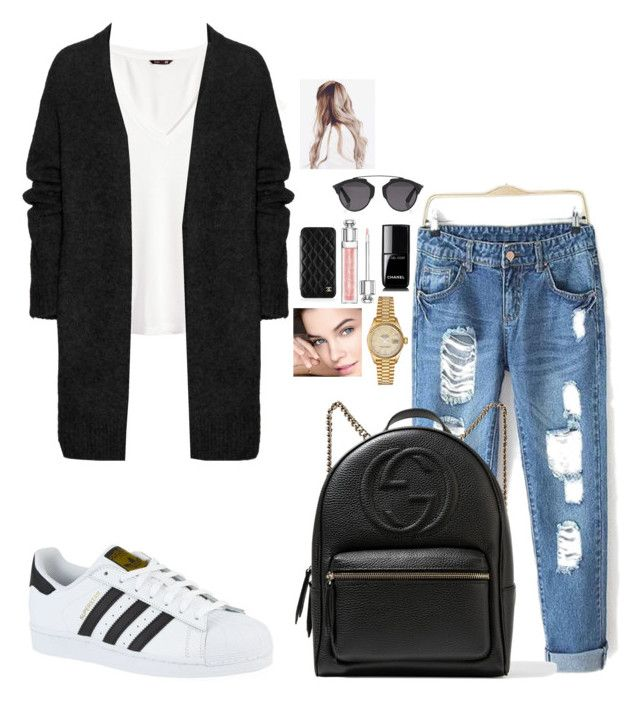 """Untitled #304"" by mariapangal ❤ liked on Polyvore featuring H&M, Acne Studios, adidas, Gucci, Rolex, Chanel and Christian Dior"