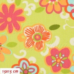 Látka, plátno - STOF Květiny XIA na sv. zelené, šíře 160 cm, 10 cm