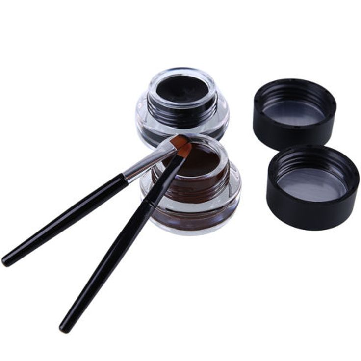 Hot sale Pefessional Eyes Makeup Gel Eyeliner Water-proof And Smudge-proof Cosmetics Set Eye Liner Kit 2 pieces