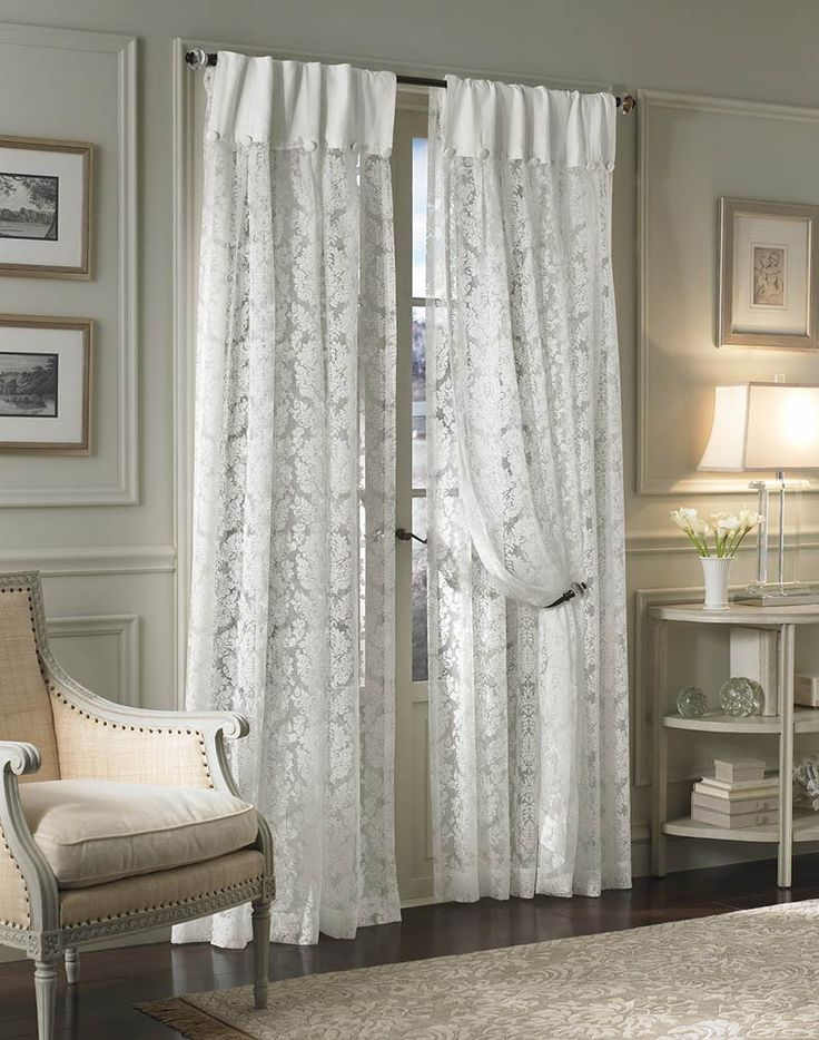 Traditional Damask Lace Inverted Pleat Curtain Panel / Curtainworks.com