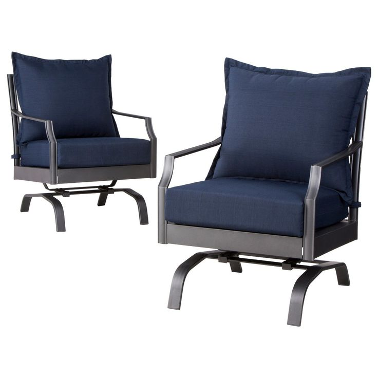 Threshold  Harper 2 Piece Metal Patio Motion Club Chair Furniture Set   Navy