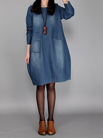 Casual Solid O-Neck Long Sleeve Denim A-Line Dress For Women  - Newchic Fashion Dress Mobile.