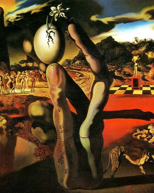 pubertad:    Salvador Dalí,Metamorphosis of Narcissus (detail), 1937