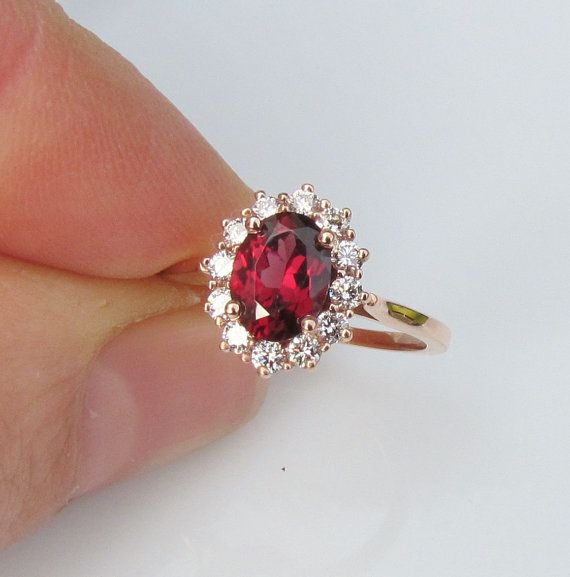 Appraisal for 14k Rose Gold Diamond Cluster Red by PristineJewelry