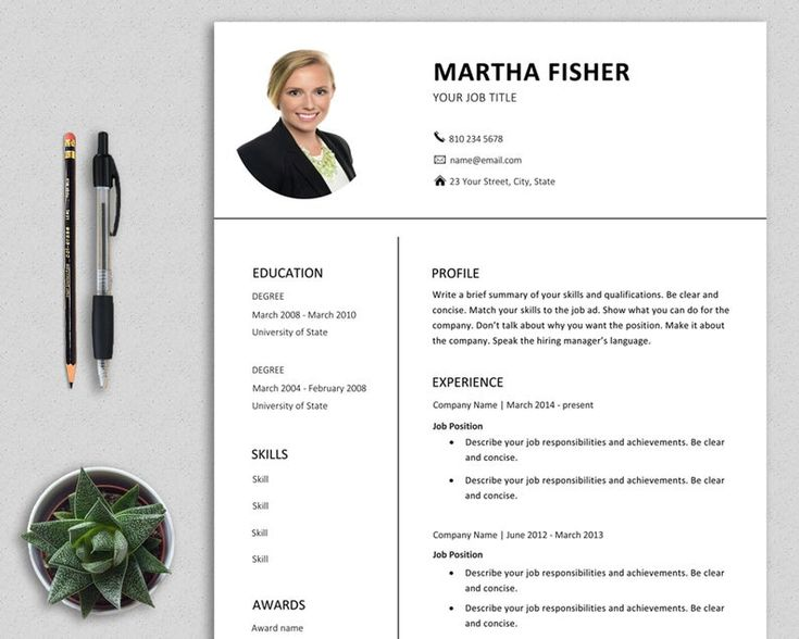 Resume template word with photo modern professional