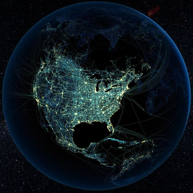 Human technology presence over North America at night. Global map showing major road and rail networks over land, along with transmission line and underwater cable data superimposed over satellite images of cities illuminated at night.