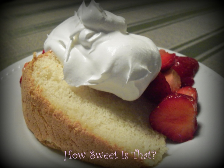 Chiffon cake with fresh strawberries and whipped cream. A summer ...