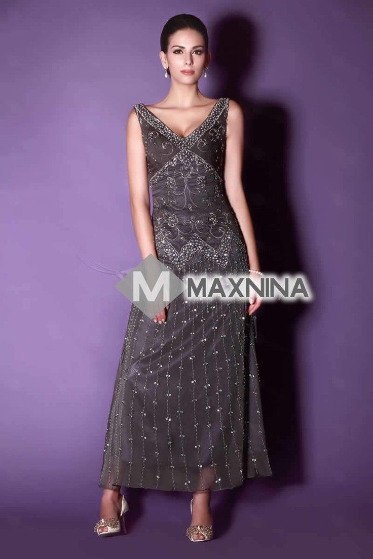 Sweet V-neck A-Line Ankle-length Embroidery Beaded Taline's Mother of The Bride Dress YSP90687