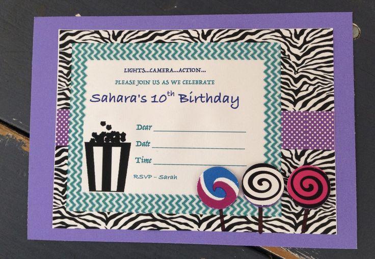 Custom Invitation - handmade - girls movie party invitation