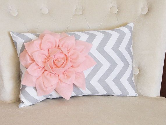 Chevron Lumbar Pillow Light Pink on Gray and White Zig Zag Lumbar Pillow 9 x 16