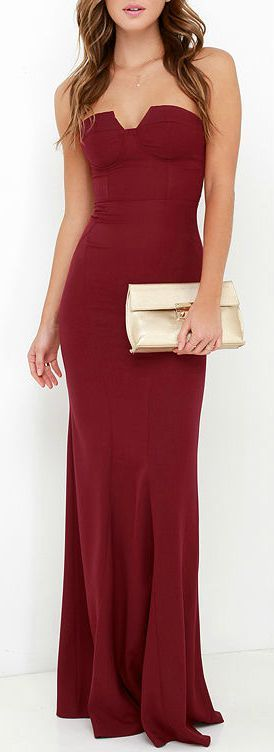 burgundy long dress women fashion outfit clothing style apparel @roressclothes closet ideas