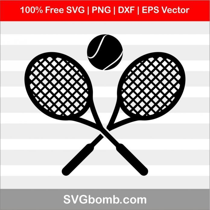 Free Svg Tennis Racket Ball Dxf Amp Amp Eps Vector Svgbomb Com Tennis Racket Clip Art Vintage Tennis