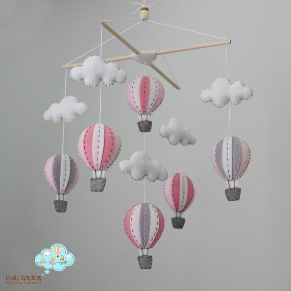 Up in the air Pink and grey baby mobile pastel by LovelySymphony