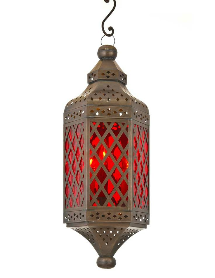 Tunisia Lantern With Red Glass