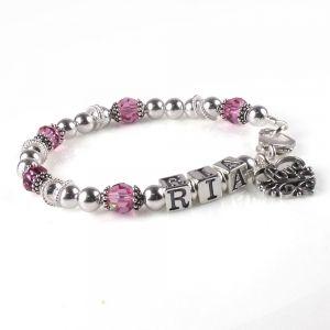 Geboortesteen Moederarmband - Zilveren Armband met de Naam en Geboortestenen van jouw Kind. Vanaf €42.95