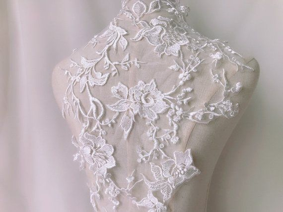 Exquisite venice rose lace applique ivory embroidery wedding