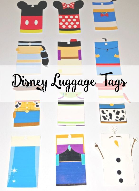 Disney Luggage Tags, Free Printables and super cute characters perfect for your next Disney trip.