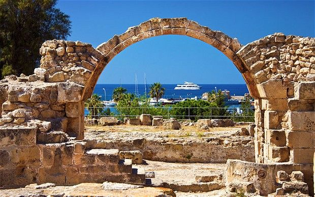 Paphos Archaeological Park ruins, Pafos harbour, Cyprus
