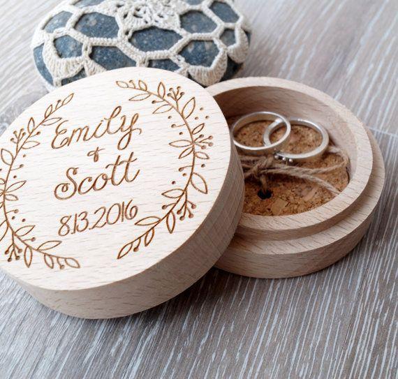 Personalized ring box, wooden ring box, wedding ring box, ring bearer box, wedding rings holder, rustic ring box, custom engraved ring box
