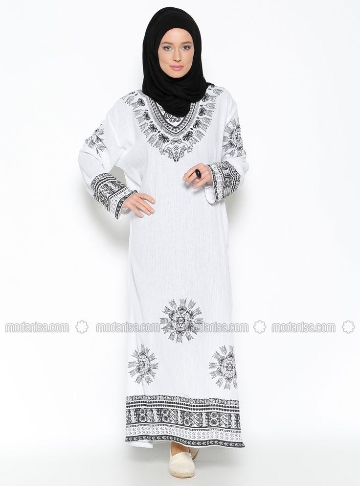 Buldan Bezi El Baskılı Elbise - Beyaz - ES-Tİ