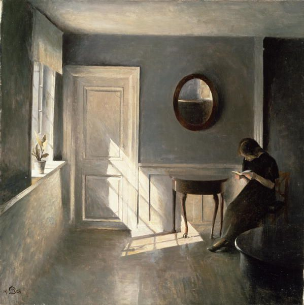 Peter Ilsted, Danish painter and printmaker (1861-1933). 'Girl Reading a Letter in an Interior' c.1908