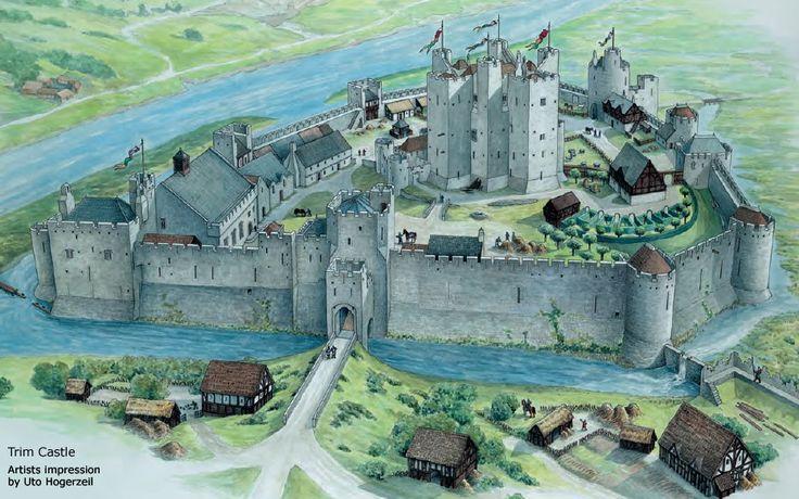 artist's reconstruction of the Norman era Trim Castle in Ireland (by Uto Hogerzeil)