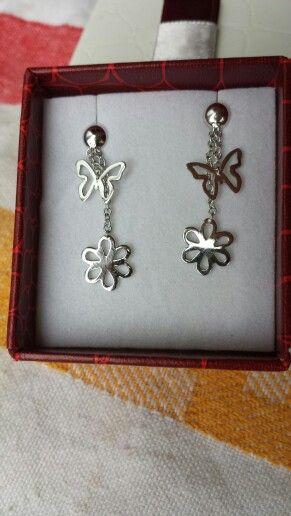 Earrings -butterfly-flower whiteGold #createdbyme