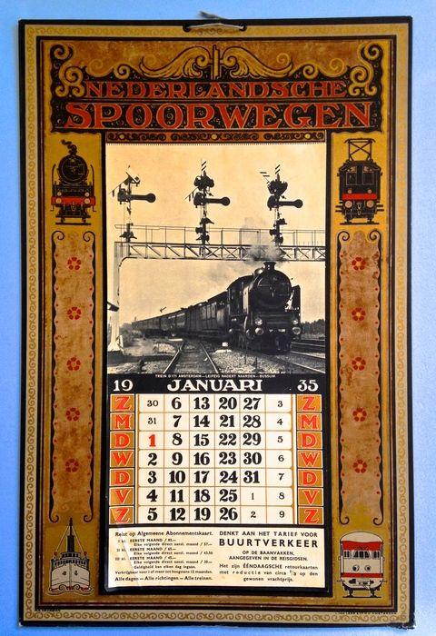 "Official 1935 Dutch Railway "" Nederlandsche Spoorwegen"" Calendar designed by Albert Hemelman (1883-1951) Printed by L van Leer & Co. N.V. Amsterdam - Now in auction  Reclame: Nederlandsche Spoorwegen - Ontwerp: Albert Hemelman - 1935"