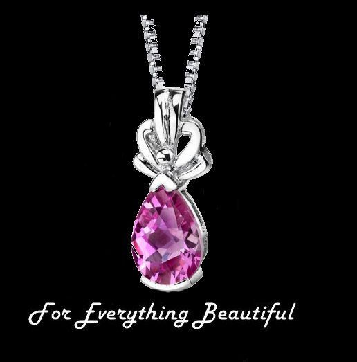 Pink Sapphire Pear Cut Fancy Accent Detail Sterling Silver Pendant