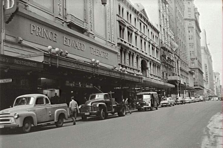 Looking south down Castlereagh St,Sydney with the Prince Edward Theatre on the left at no 36.