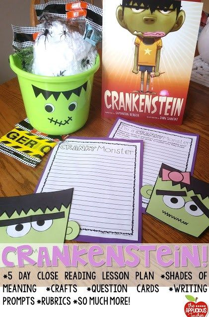 Close Reading with the book Crankenstein. Love all the ideas in this post, especially her door!