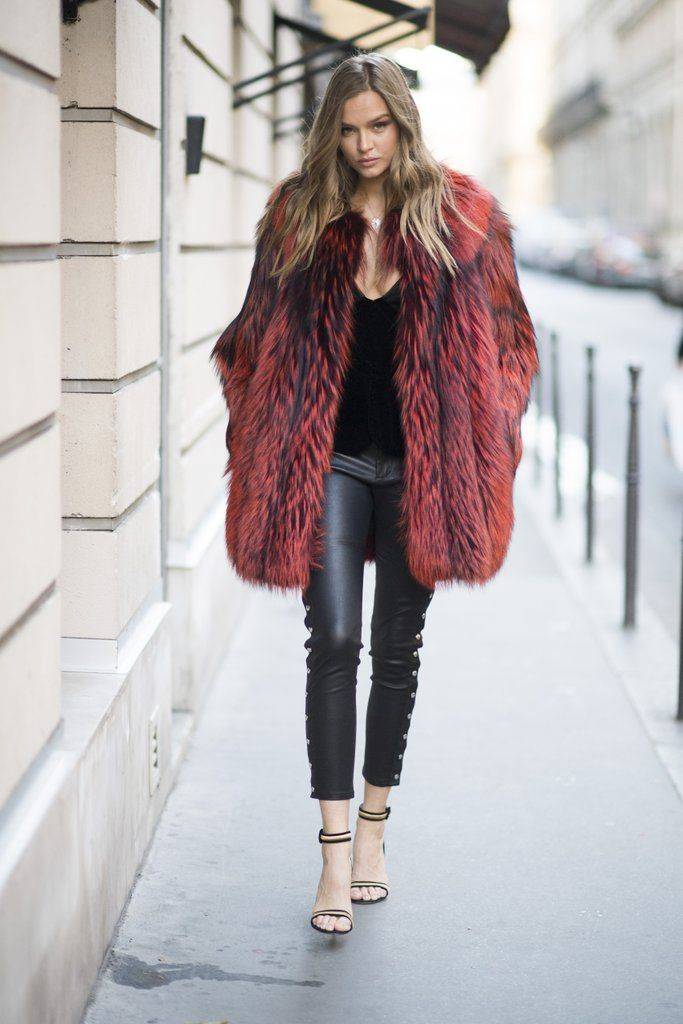 Josephine Skriver made sure to pack a bright, fur coat for warmth and style on the streets of Paris.