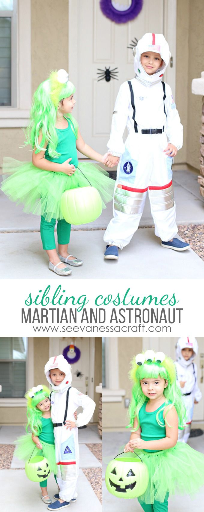 DIY Martian or Alien and Astronaut Halloween Sibling Costume Idea