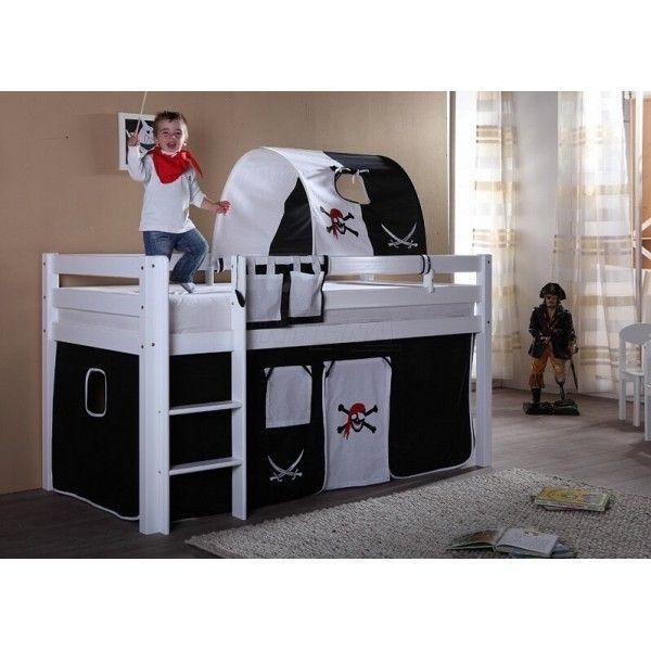 Zvýšené jednolůžko - dětská postel s domečkem ALEX BÍLÁ, masiv buk