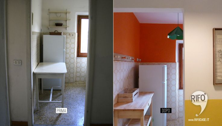 restyling colore cucina arancio giallo lime mattonelle anni '60 PRIMA E DOPO //restyling kitchen color orange lime yellow tiles 60 BEFORE AND AFTER