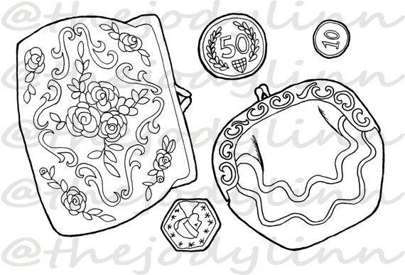 Museum Drawer: Coin Purses 2. Instant Download Digital Stamp Bundle. Line Art Illustration for Cards and Crafts