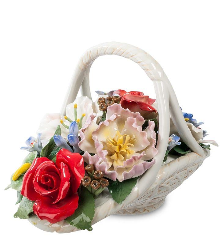 """Фарфоровая композиция """"Цветочная корзина"""" CMS-33/5 (Pavone)   Бренд: Pavone (Италия);      Страна производства: Китай;   Материал: фарфор;   Длина: 28 см;   Ширина: 16 см;   Высота: 18 см;   Вес: 1,8 кг;      #фарфор #цветы"""