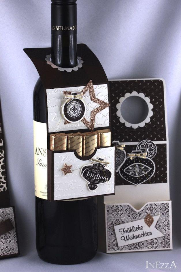 !!! **Reserviert für Anna** !!!  15 Wunderschöne Flaschenanhänger im Vintage-Look mit Ornamenten. In den Farben Kaffeebraun und Vanille.  Gestempelt, geprägt, mit Goldbändchen und...