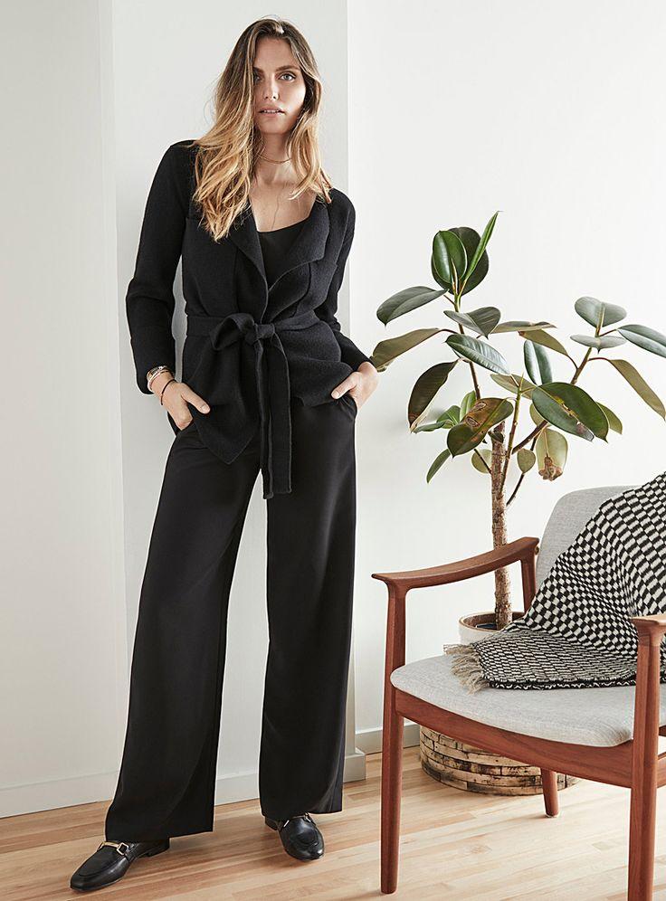 Graphic-pocket belted cardigan | Contemporaine | Shop Women's Cardigans | Simons