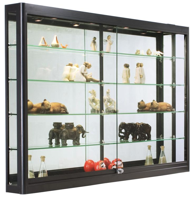 Wall Mounted Display Case W/4 Top LED Lights U0026 Mirror Back,