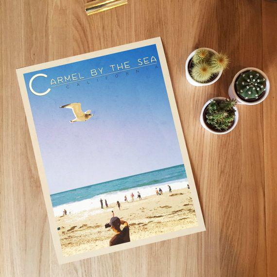 Carmel By The Sea Travel Print. California Print, Beach Art, Wall Art, Vintage…