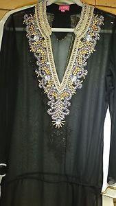 Tunic Beaded Beach Resort Wear India Resort Wear Kaftan Black Gold ...